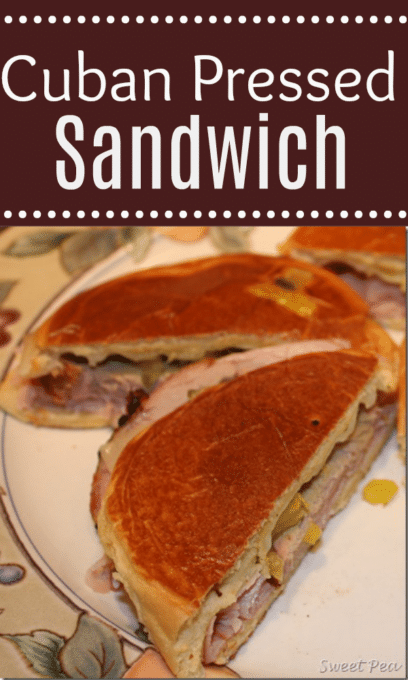 Cuban Pressed Sandwich - Roast pork, ham, and swiss layered with banana peppers, mayo, and mustard grilled make a mouth watering and delicious sandwich. virginiasweetpea.com