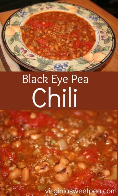 Black Eye Pea Chili - This is a delicious twist on a classic chili recipe. virginiasweetpea.com #chilirecipe #chili