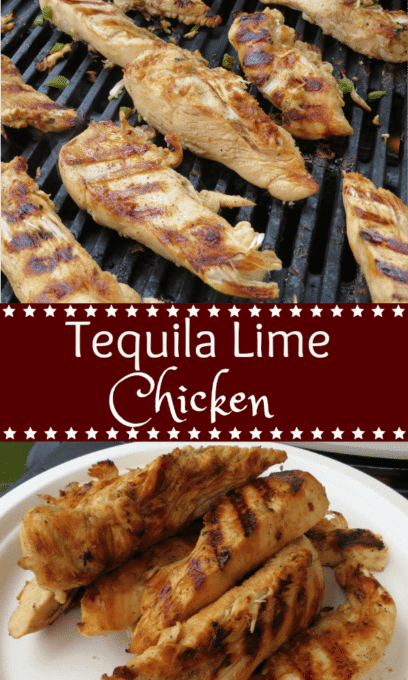 Tequila Lime Chicken - Chicken marinated in a combination of tequila, lemon and lime juices, garlic, chili powder, salt and pepper is super moist, flavorful, and a favorite grilled dish.  virginiasweetpea.com  #grill #chicken #grilledchickenrecipe #chickenrecipe #grillrecipe