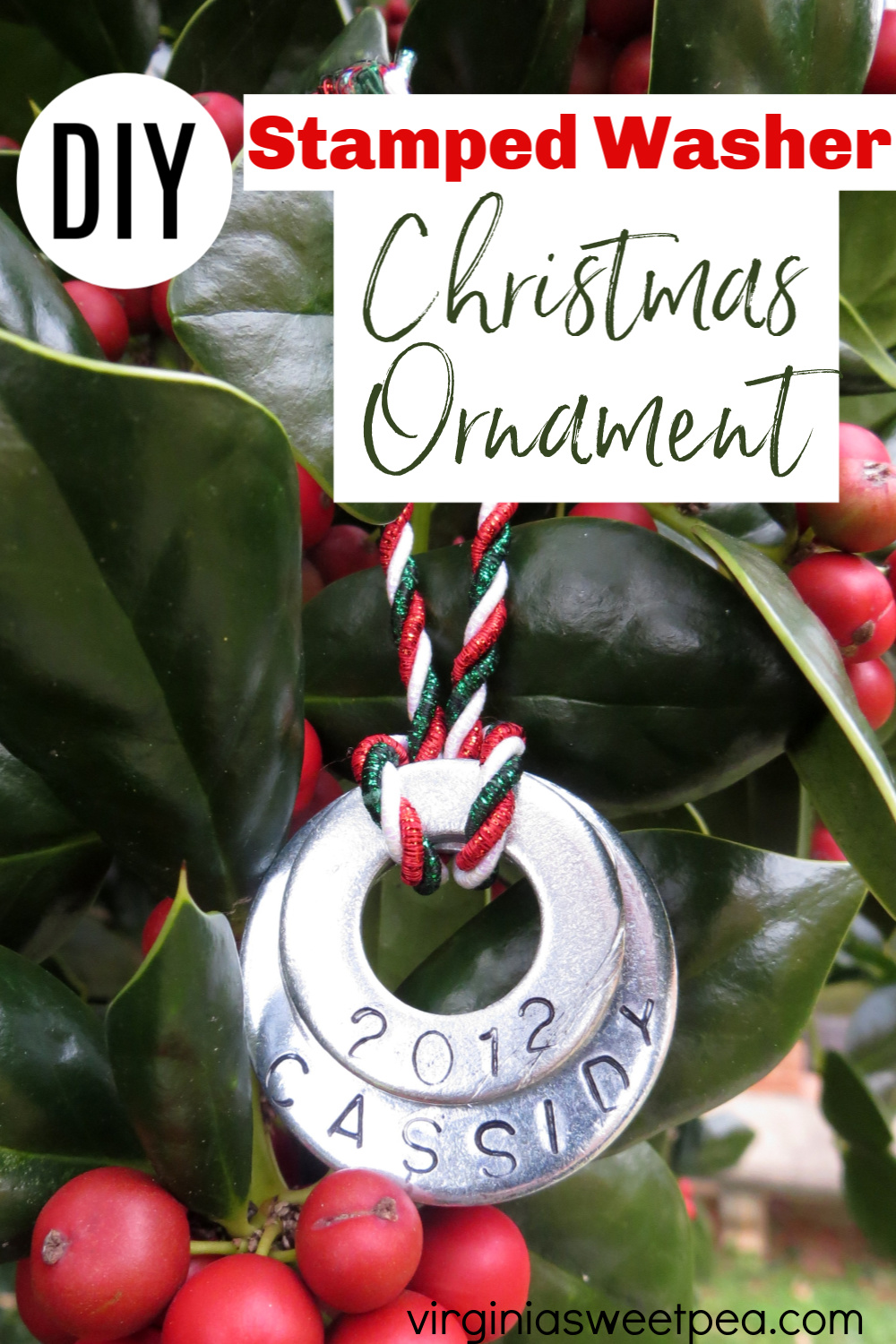 Stamped Washer Christmas Ornament - Use a metal stamping kit and washers to make a personalized Christmas ornament.  These make a great gift.  #stampedmetal #diychristmasornament #christmascraft via @spaula