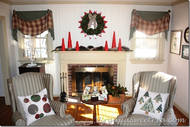 2012 Living Room with Embelleshed Drop Cloth Pillows