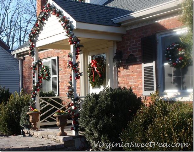 Pottery Barn inspired outdoor Christmas decor.