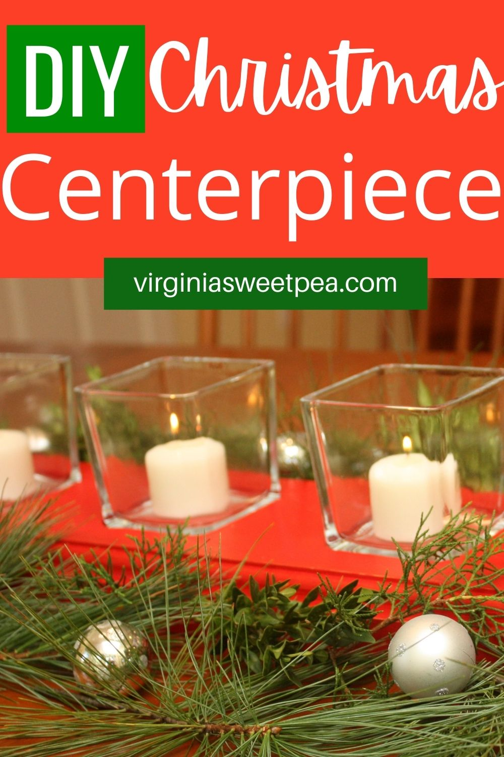 DIY Christmas Centerpiece - Learn how to make a DIY recessed glass votive holder centerpiece to use on a table as a centerpiece. Fill the glass votives with candles or decorate with greenery and Christmas balls. This centerpiece can be customized to use in any season by painting or staining it in a desired color. via @spaula