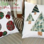 Embellished Drop Cloth Pillows for Christmas
