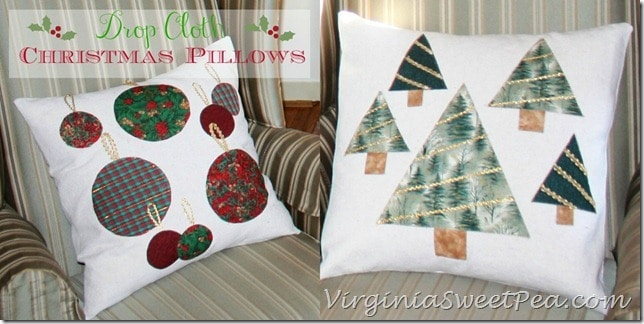 Drop Cloth Christmas Pillows by Sweet Pea