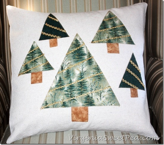 Drop Cloth Tree Christmas Pillow by Sweet Pea