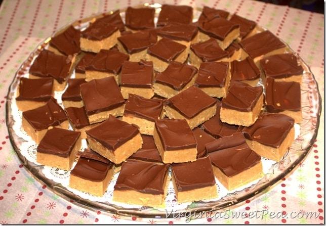 Peanut Butter Bars on Platter