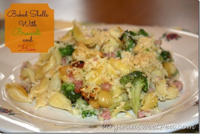 Baked Shells with Broccoli and Ham by Sweet Pea