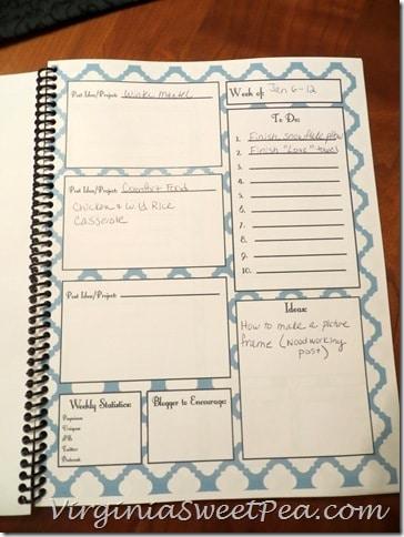 Blog Planner - Each Week