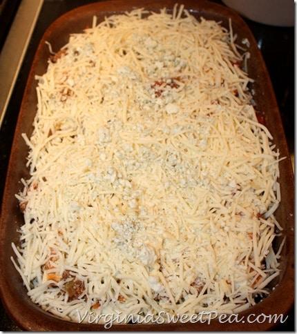 Buffalo Wing Style Lasagna before baking