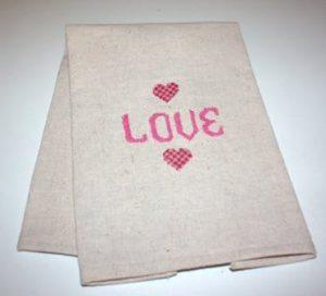 Cross Stitched Valentine's Day Tea Towel