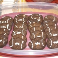 Football Cookies in Rubbermaid Container