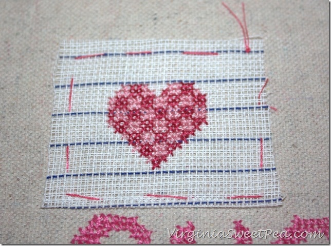 How to Make a Cross Stitch Valentine's Day Tea Towel using a Drop Cloth - virginiasweetpea.com