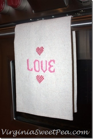 Love Towel on Stove