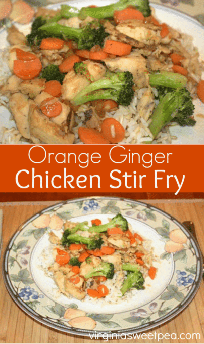 Orange Ginger Chicken Stir Fry - This tasty meal is quick and easy to prepare with a great Asian inspired taste. virginiasweetpea.com