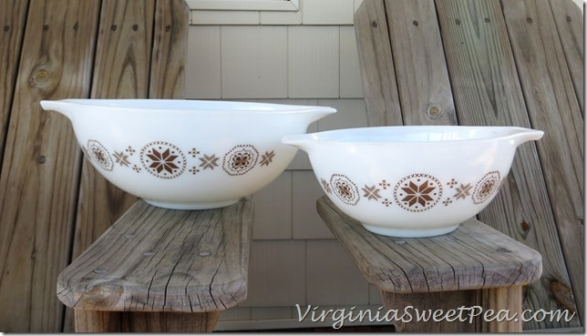 Brown Large and Small Vintage Pyrex Bowls
