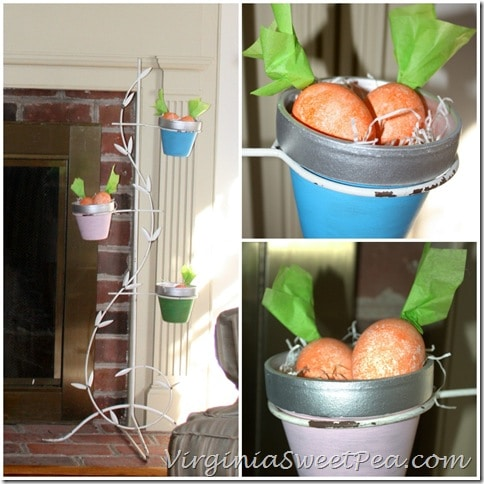 Carrot Eggs in Vintage Flower Pot Holder