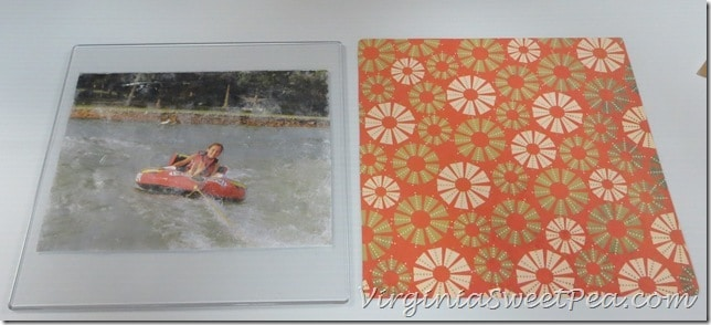 Cut decorative paper to frame size