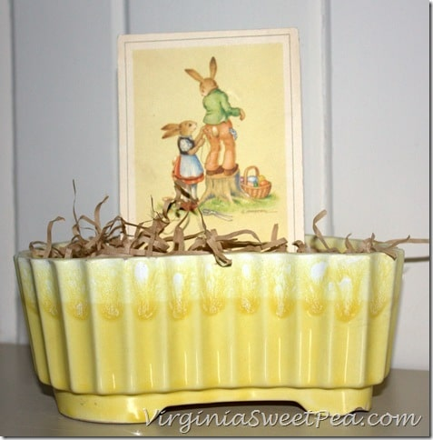 German Easter Card in Vintage Pot
