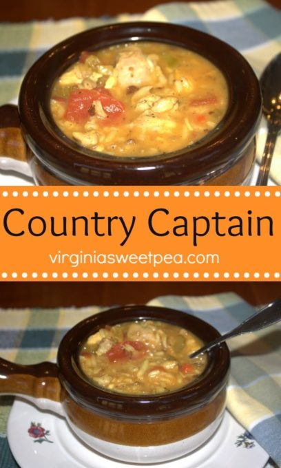 Country Captain - Chicken, sausage, and loads of veggies in a savory sauce with a hint of sweetness makes a delicious meal.  virginiasweetpea.com  #countrycaptain #chicken #chickenrecipe #sausage #stew #stewrecipe
