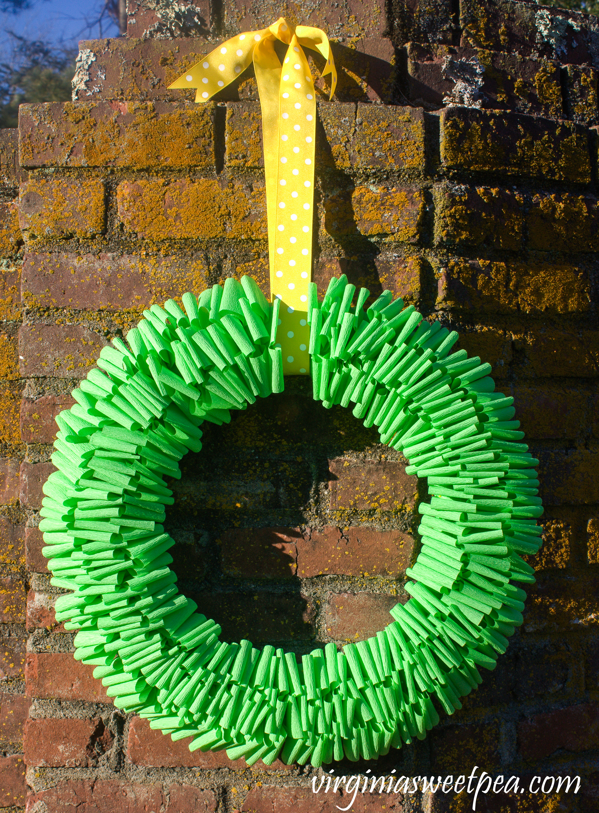 Learn how to make a spring wreath using crepe paper