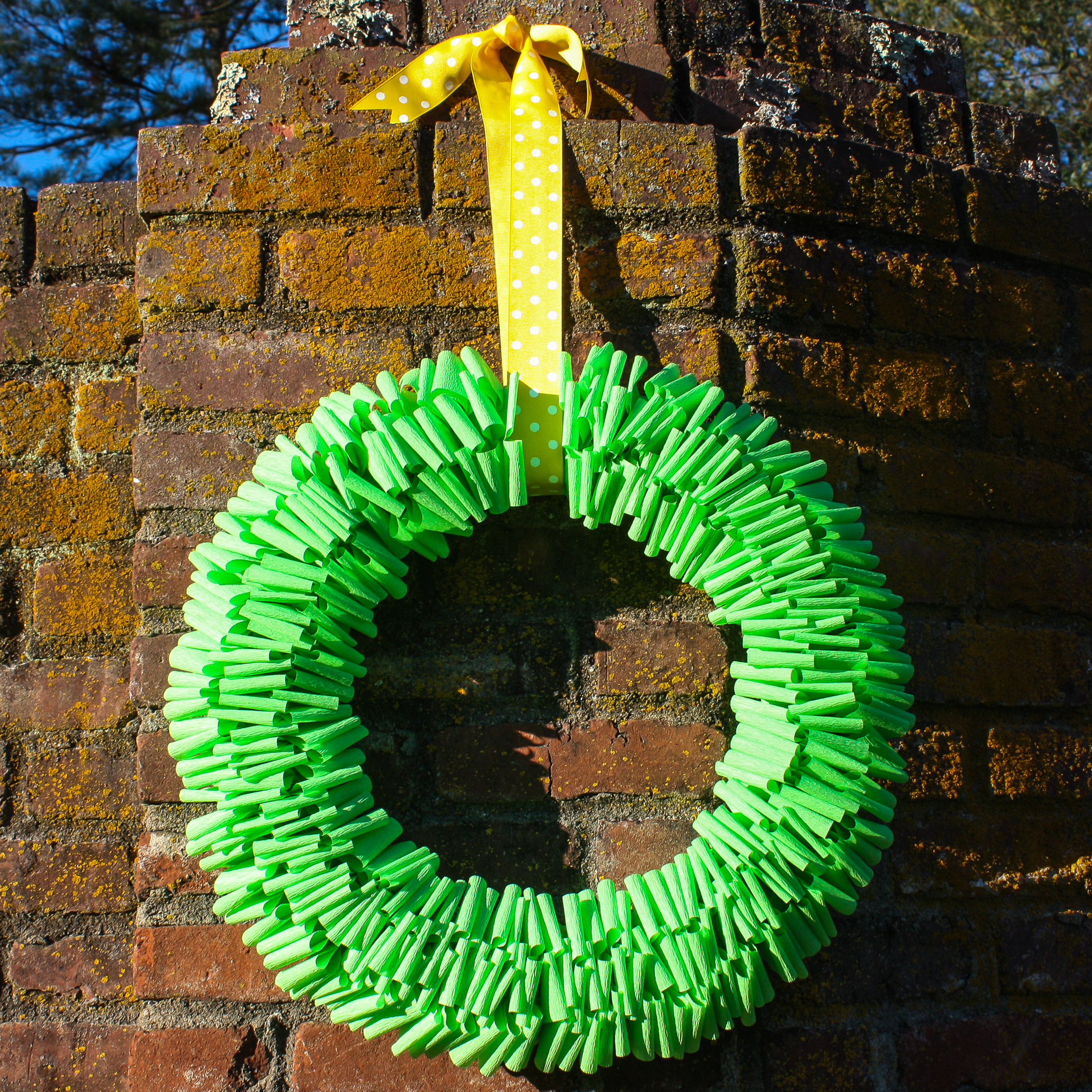 Make a wreath using crepe paper, sewing pins, and a styrofoam wreath form.