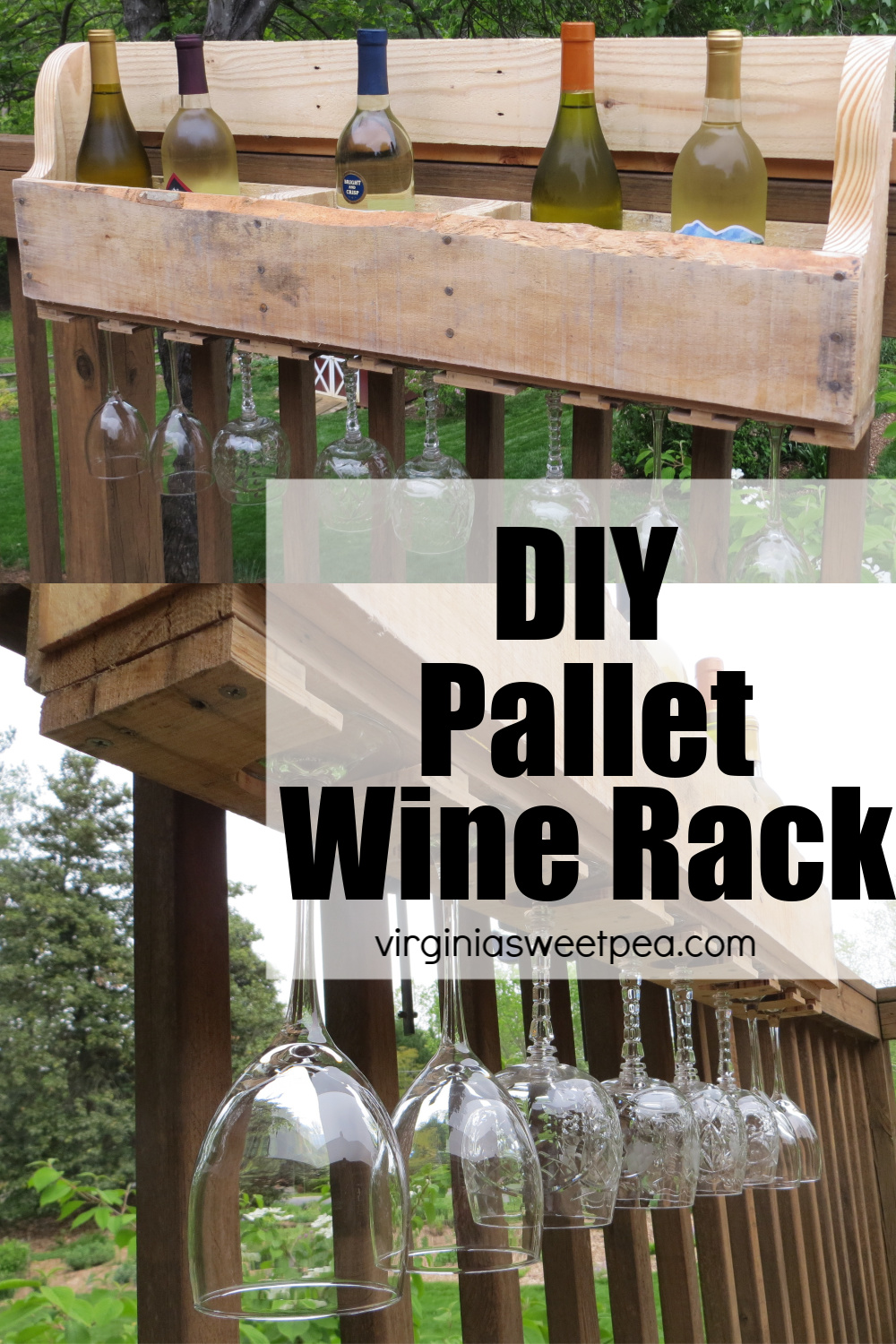 DIY Pallet Wine Rack - Learn how to make a wine rack using a pallet. The wine rack holds bottles on the top and has slots for displaying glasses on the bottom. #diywinerack #winerack via @spaula