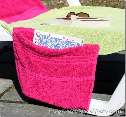 Lounge chair cover made from towels with a pocket for magazines