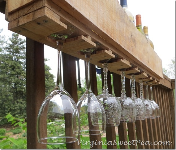 Pallet Wine Rack - View of Glasses
