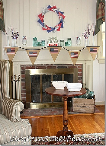 4th of July Mantel with Vintage Touches