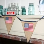 Patriotic Burlap and American Flag Banner