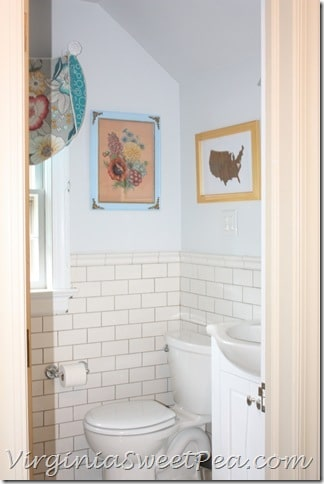 Guest Bathroom Showing New and Vintage Art