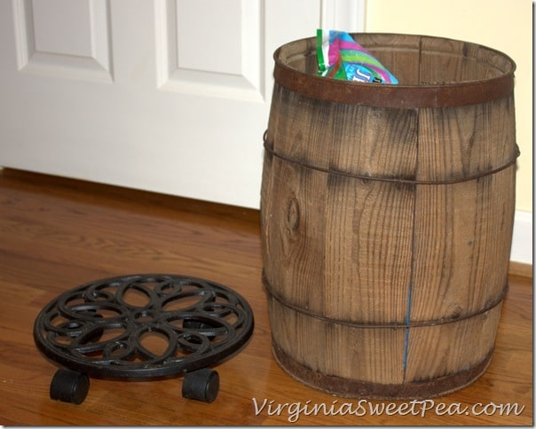 Rolling Plant Holder and Vintage Barrel