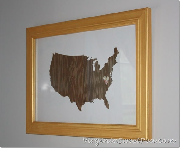 United States Woodgrain Map with Floral Hearth in Bathroom