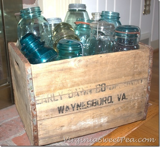 Vintage Ball Jars in Vintage Early Dawn Crate