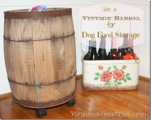 Vintage Barrel Used for Dog Food Storage by virginiasweetpea.com
