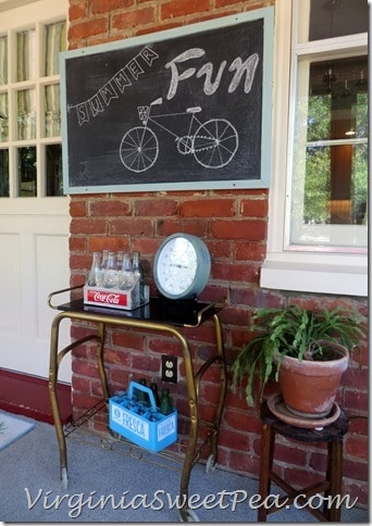 Bulletin Board Turned Chalkboard on Porch
