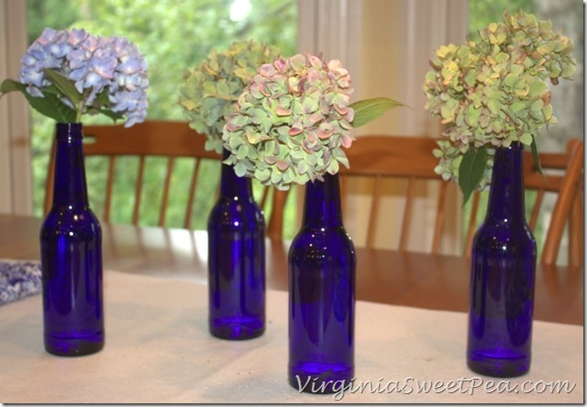 Hydrangeas in Beer Bottle Vases