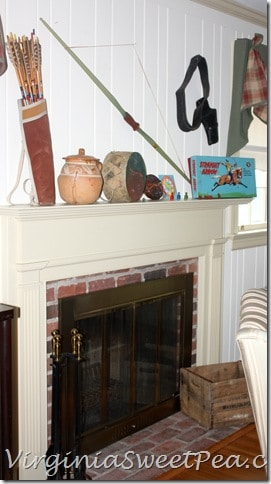 Vintage Cowboy and Indian Mantel - Side View