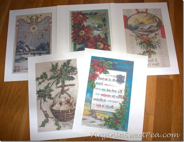 Reverse Image Antique Christmas Post Cards