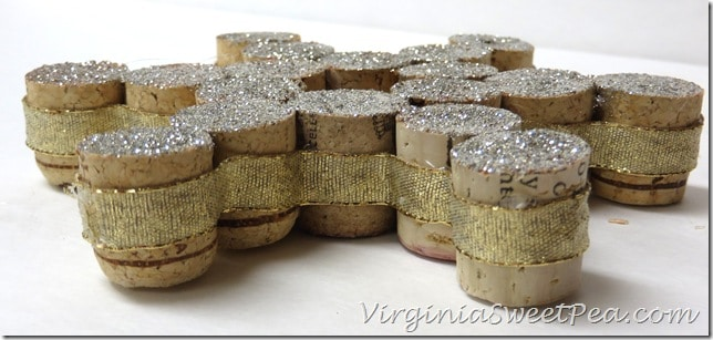 Glue Ribbon to Edge of Wine Cork Ornament