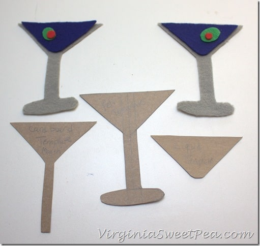 Martini Template and Felt Pieces