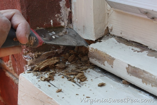 How to repair a rotten window sill sweet pea for Reparer fissure appui de fenetre