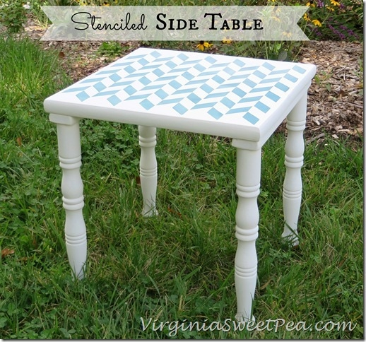 Stenciled Side Table by virginiasweetpea.com