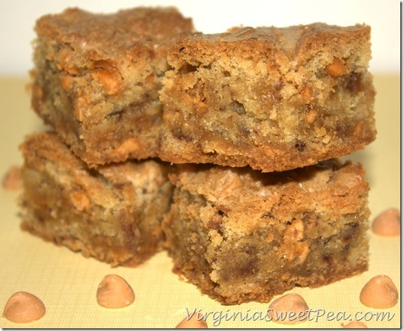 Butterscotch Toffee Blondies are moist on the inside and slightly ...