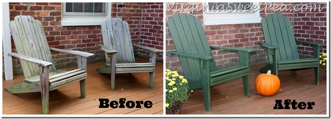 Adirondack Chairs Before and After Staining with Homeright Sprayer