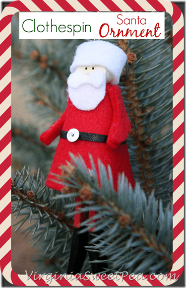 Clothespin Santa Ornament by virginiasweetpea.com