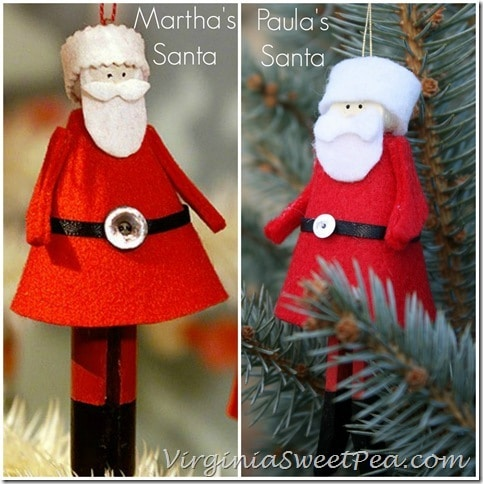 Clothespin Santas Martha vs Paula