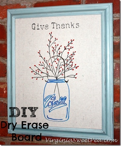 DIY Dry Erase Board by virginiasweetpea.com