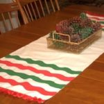 Striped Drop Cloth Table Runner for Christmas